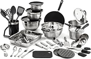 Old Dutch 1514 58 pc. Kitchen in a Box Cookware Sets, Piece, Stainless Steel, Black