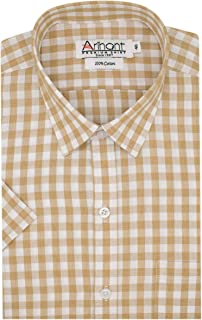 Arihant Checkered 100% Cotton Half Sleeve Regular Fit Formal Shirt for Men