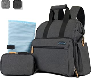 Deluxe Baby Diaper Backpack For Mom, Dad | Large Capacity Maternity Nappy Baby Bag with Insulated Bottle Bag, Changing Pad, and Stroller Straps (Dark Grey)