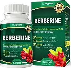 EzyAbsorb Gluten-Free Berberine 500mg, 90 Veggie Capsules for Blood Sugar Support/w LA-3 AMPK Metabolic Activator