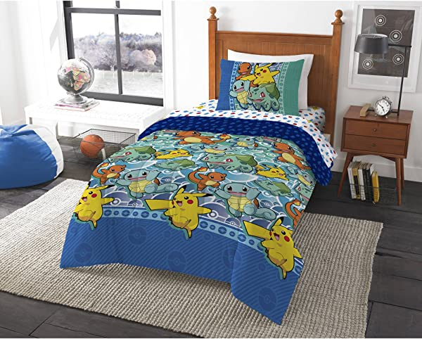 Pokemon First Starters Twin Bed In A Bag Bedding Set