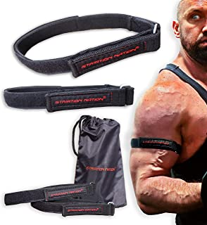 Striation Nation 1-Inch BFR Training Bands for Arms and Shoulders, Set of 2 Occlusion Bands, Blood Flow Restriction Bands,...