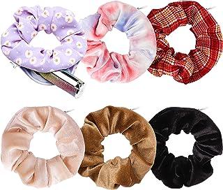 WATINC 6 Pcs Pocket Hair Scrunchies Hidden Zipper Tie Dye Velvet Hair Bobbles Solid Color Hair Accessory Checkered Pattern...