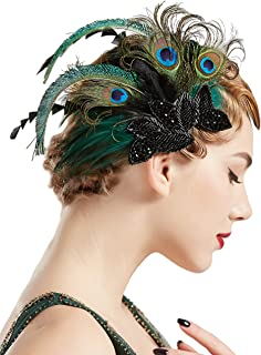 BABEYOND 1920s Flapper Hair Clip 20s Great Gatsby Headpiece Peacock Feather Clip 1920s Flapper Gatsby Hair Accessories (Peacock-Style1)