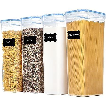 Vtopmart 2.8L boîtes de Conservation Alimentaire sans BPA de Nourriture en Plastique avec Couvercle,Ensemble De 4+24 Étiquettes,pour Céréales,Farine