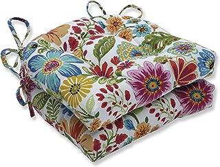 Pillow Perfect Outdoor   Indoor Gregoire Prima Reversible Chair Pad (Set of 2), Blue 16 X 15.5 X 4