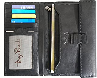 M/ünzfach Schwarz Tony Perotti TP-0311Blk Geldb/örse aus Echtleder mit Rei/ßverschluss