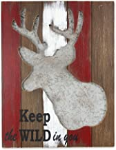 "Young's Keep the Wild in You Wooden Deer Plaque, 14.5"" x 1.5"" x 18.75"""