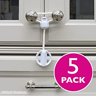 Kiscords Baby Safety Cabinet Locks for Knobs Child Safety Cabinet Latches for Home Safety Strap for Baby Proofing Cabinets Kitchen Door Rv No Drill No Screw No Adhesive/Color White/ 5 Pack Ez-Twist