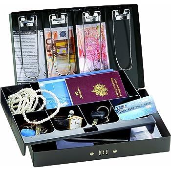 Noir Master Lock CB-12ML Coffre pour organiser et s/écuriser la monnaie pi/èces billets