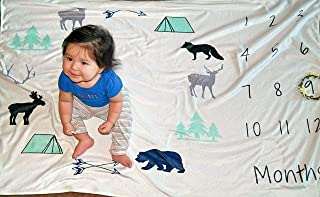 Monthly Baby Milestone Fleece Blanket for Newborn Girls, Boys and Twins: Huge (60X40) and Plush Photo Prop/Backdrop Mat