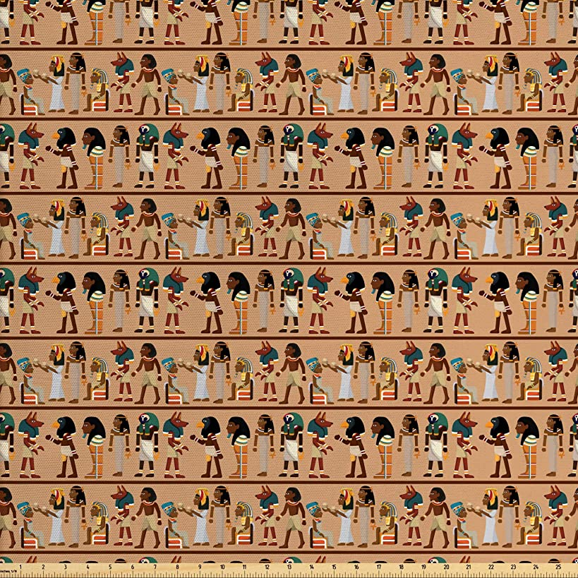 Ambesonne Egyptian Fabric by The Yard, Egyptology Theme Mythological Cartoon Characters Archeology History Illustration, Decorative Fabric for Upholstery and Home Accents, 1 Yard, Multicolor