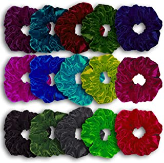 15 Pack - Premium Velvet Hair Scrunchies for Women or Girls Hair Accessories, Elastic Solid Color Hair Tie Ropes and Ponytail Holder, Great Gift for Thanksgiving day and Christmas