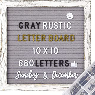 G GAMIT Felt Letter Board Rustic Wood Frame, Pre-Cut&Sort 680 White&Black&Golden Letters+33 Weeks&Months Cursive Words, 10x10inch Gray Message Board,Word Board &Sign Board with Sorting Tray &Gift Box