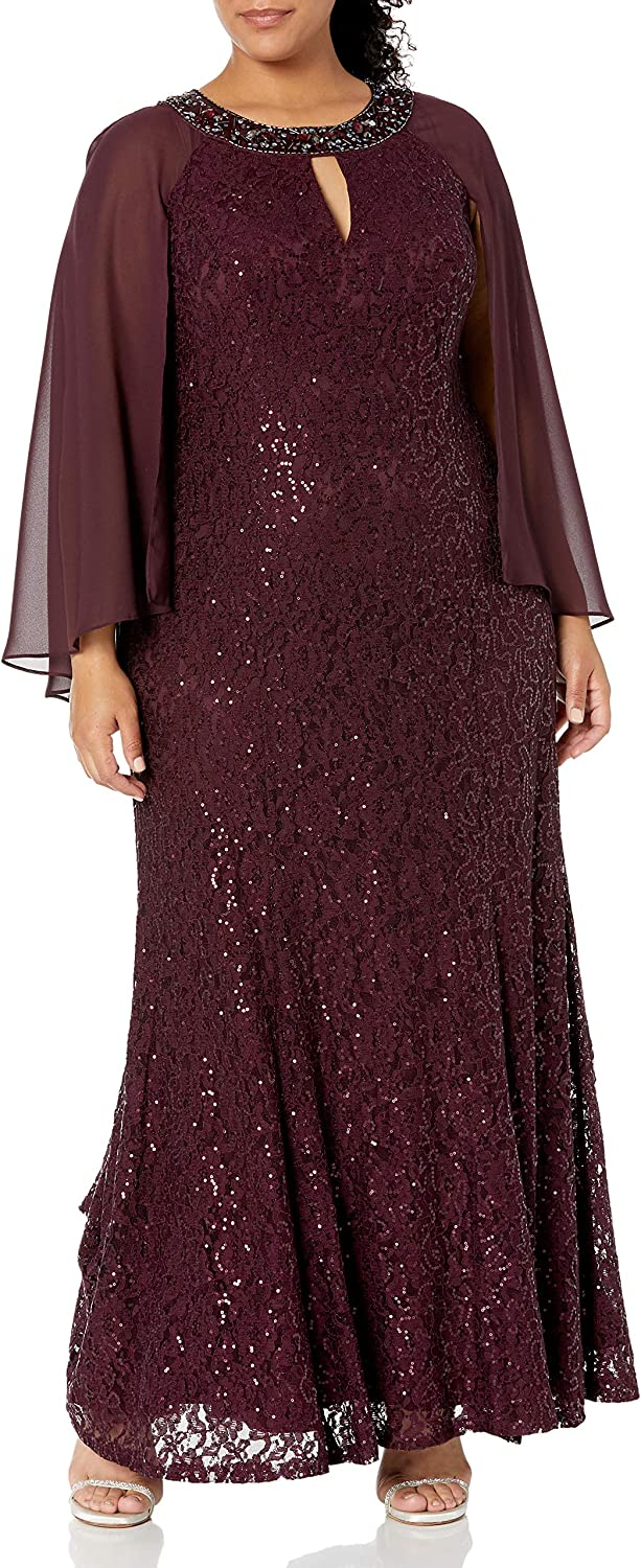 S.L. Ranking TOP16 Fashions Free shipping anywhere in the nation Women's Plus Size Lace Fit Dr and Flare Sequin
