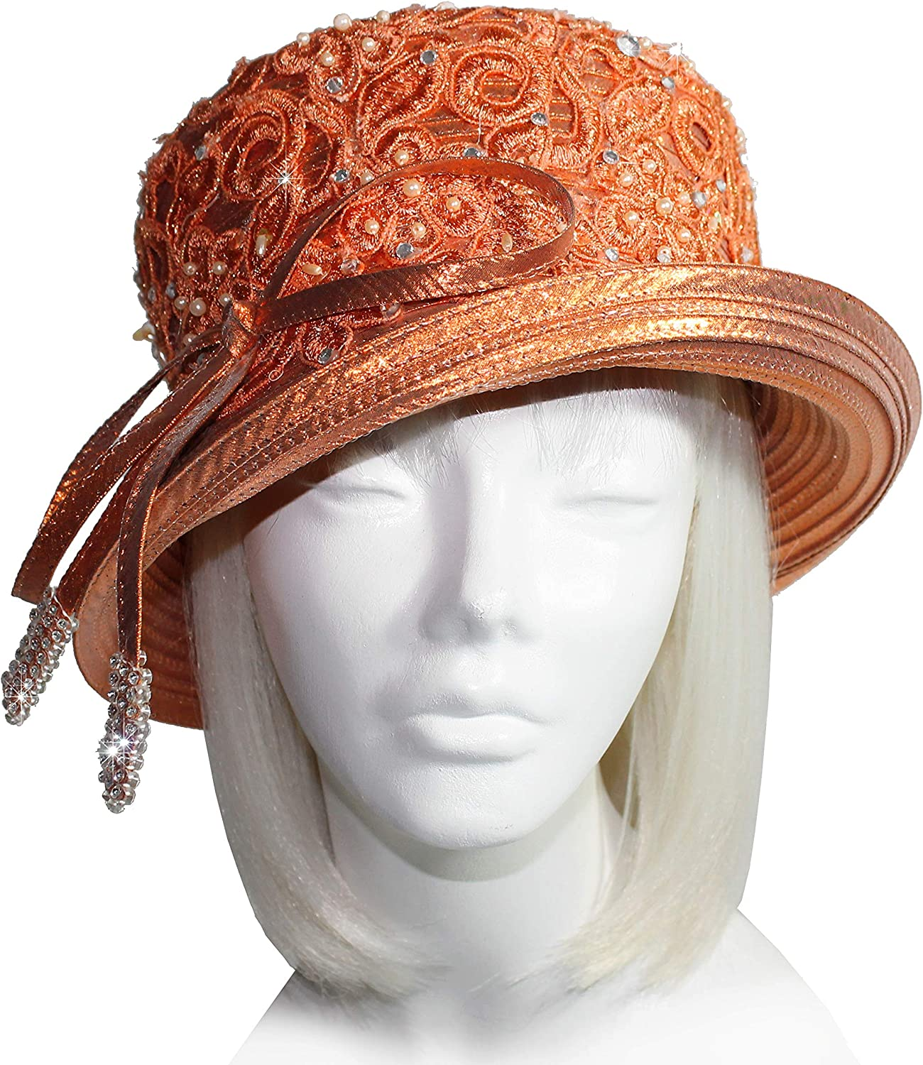 Mr. Song Millinery Medium Brim Hat with Rhinestone shoesrstring Knot & Lace  Shimmery orange Q334