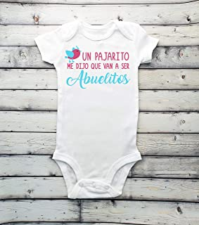 Un pajarito me dijo que van a ser ABUELITOS baby announcement bodysuit, surprise, guess what, baby coming soon, baby bodysuit, IVF - spanish - pregnancy reveal - grandparents Hola abuelitos
