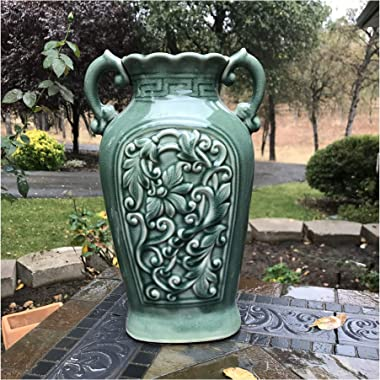 Goodman and Wife Fine Ceramic Porcelain Green Ancient Aged Floral Embellished Asian Water Container