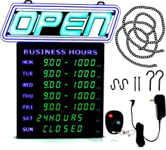 Led Open Sign with Business Hours – Stand Out with 1000's Color Combos to Match Your Brand, – Neon Flash, or Scroll – Programmable App, 15 x 16.5 inch