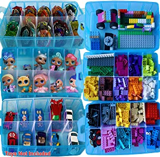 HOME4 BPA Free 60 Adjustable Compartments Stackable Storage Organizer Carrying Case Compatible with Small Toys, Beyblade, LPS Figures, Dolls Not Included, Bonus Sticker Blue Glitter