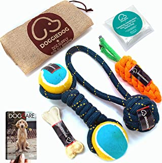 DOGGIE DOG Attractive Cotton Poly Mix Chew Dog Toys for Teething Suitable Small and Medium Puppies with Jute Bag & eBook (...