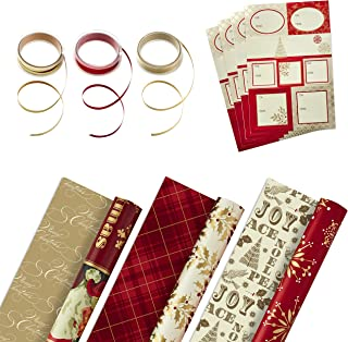 Hallmark Reversible Christmas Wrapping Paper Set with Ribbon and Gift Tag Stickers (Traditional Red and Gold, 3 Rolls of W...