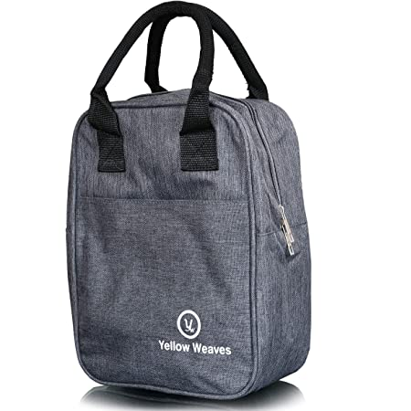 Yellow Weaves Canvas Insulated Travel Lunch Bag - Grey
