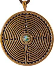 product image for Labyrinth Peace Bronze Pendant Necklace with 6mm Labradorite Stone on Adjustable Natural Fiber Cord
