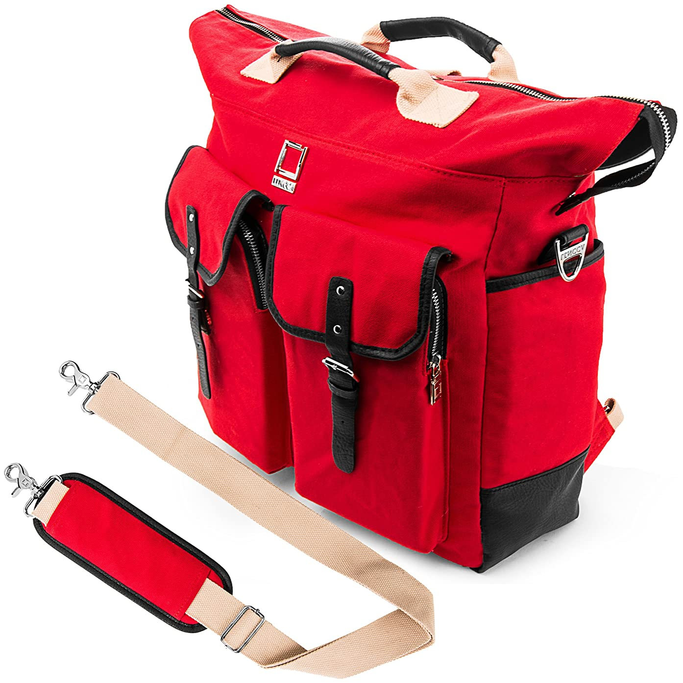 Lencca Universal Hybrid 3 in 1Design Carrying / Tote / Messenger / Crossbody / Backpack / Shoulder Bag for Apple Macbook Pro 15.4 / Acer / ASUS / Dell / Samsung / HP / Lenovo / Toshiba / MSI fit up to 15.6 inch Notebook / Google Chromebook / Ultrabook / Laptop (Red)