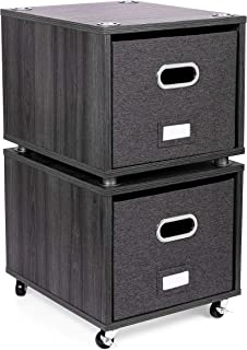 BirdRock Home Rolling File Cabinet with 2 Lateral Drawers – Decorative Storage Shelf, Blankets, Books, Files, Magazines, Toys, etc – Removable Bin with Handles – Under Desk Office Living Room Home