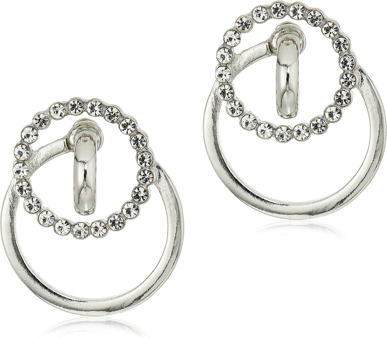 Steve Madden Interlocking Circular Design Two-Tone Post Statement Earrings For Women