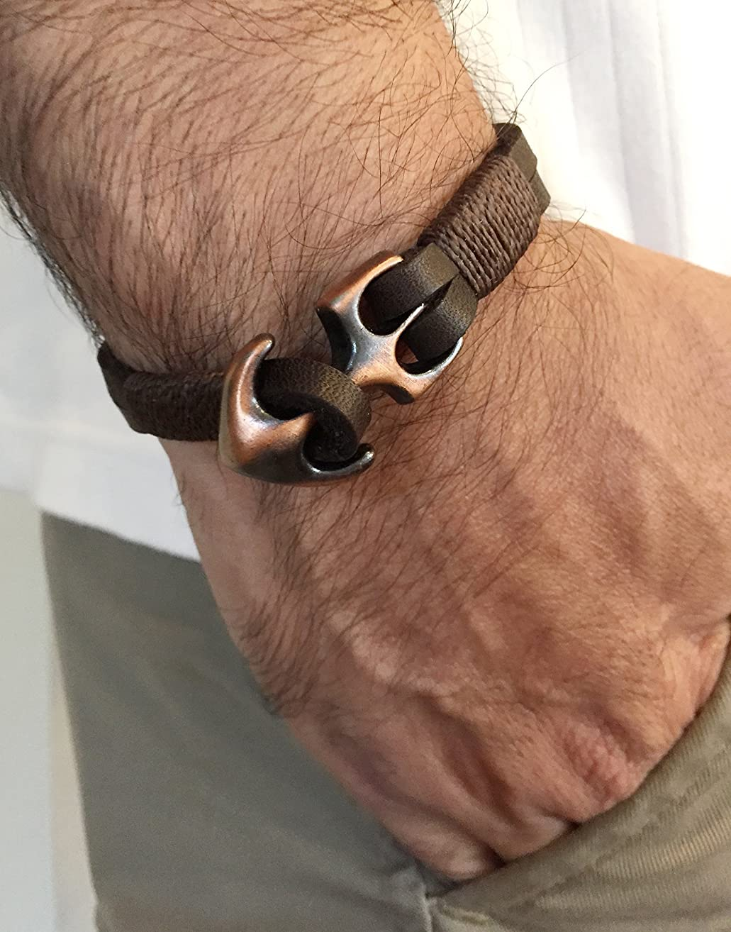 Mens leather navy bracelet with anchor Closure