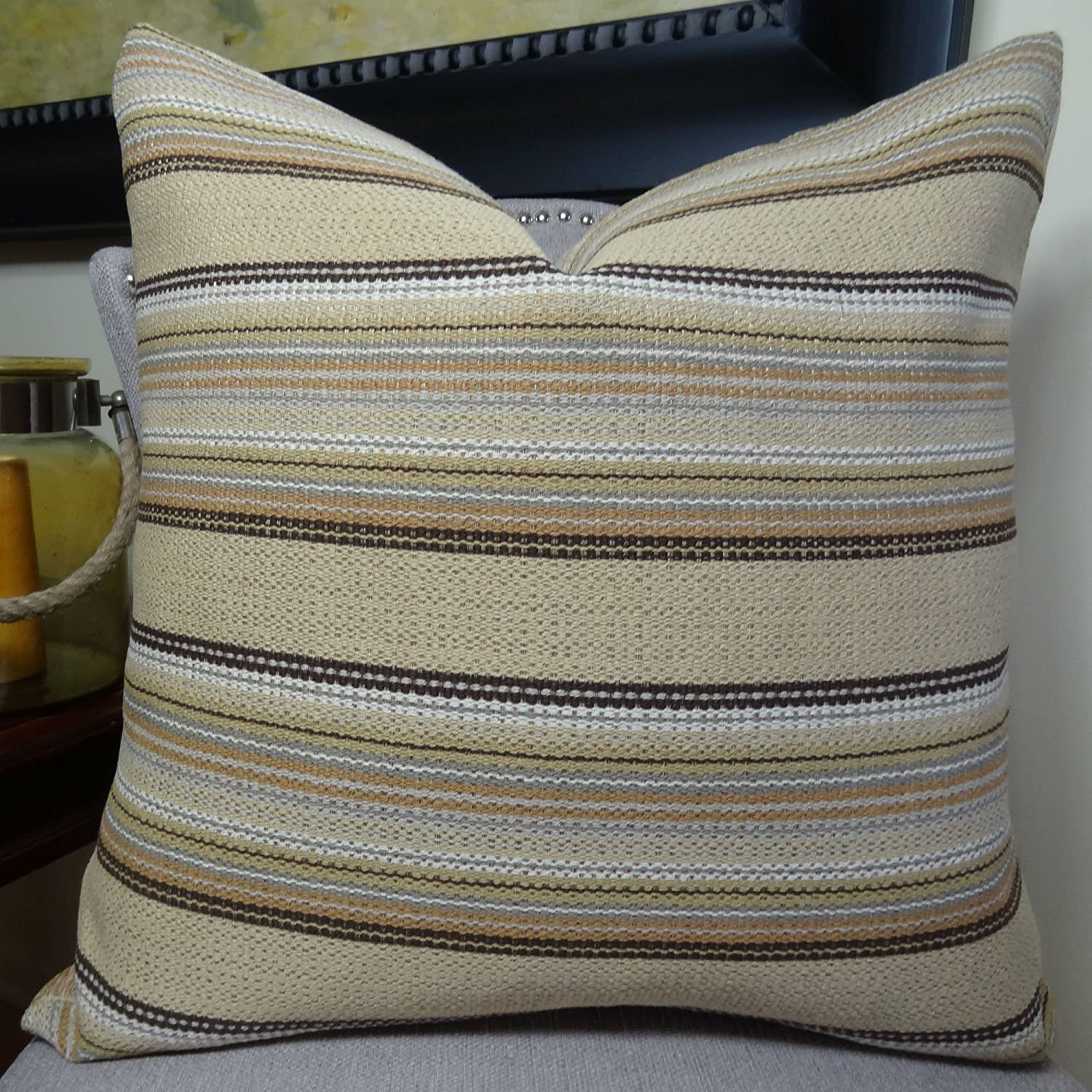 Thomas Collection Handmade in USA Luxury Accent Pillow for Couch Sofa Bed, Made in USA Pillow Insert & Cover, Taupe Brown Stripe Pillow  11224