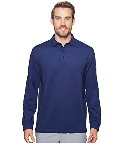 Callaway Extra Soft Long Sleeve French Terry Heathered Solid Polo (Blueprint Heather) Men