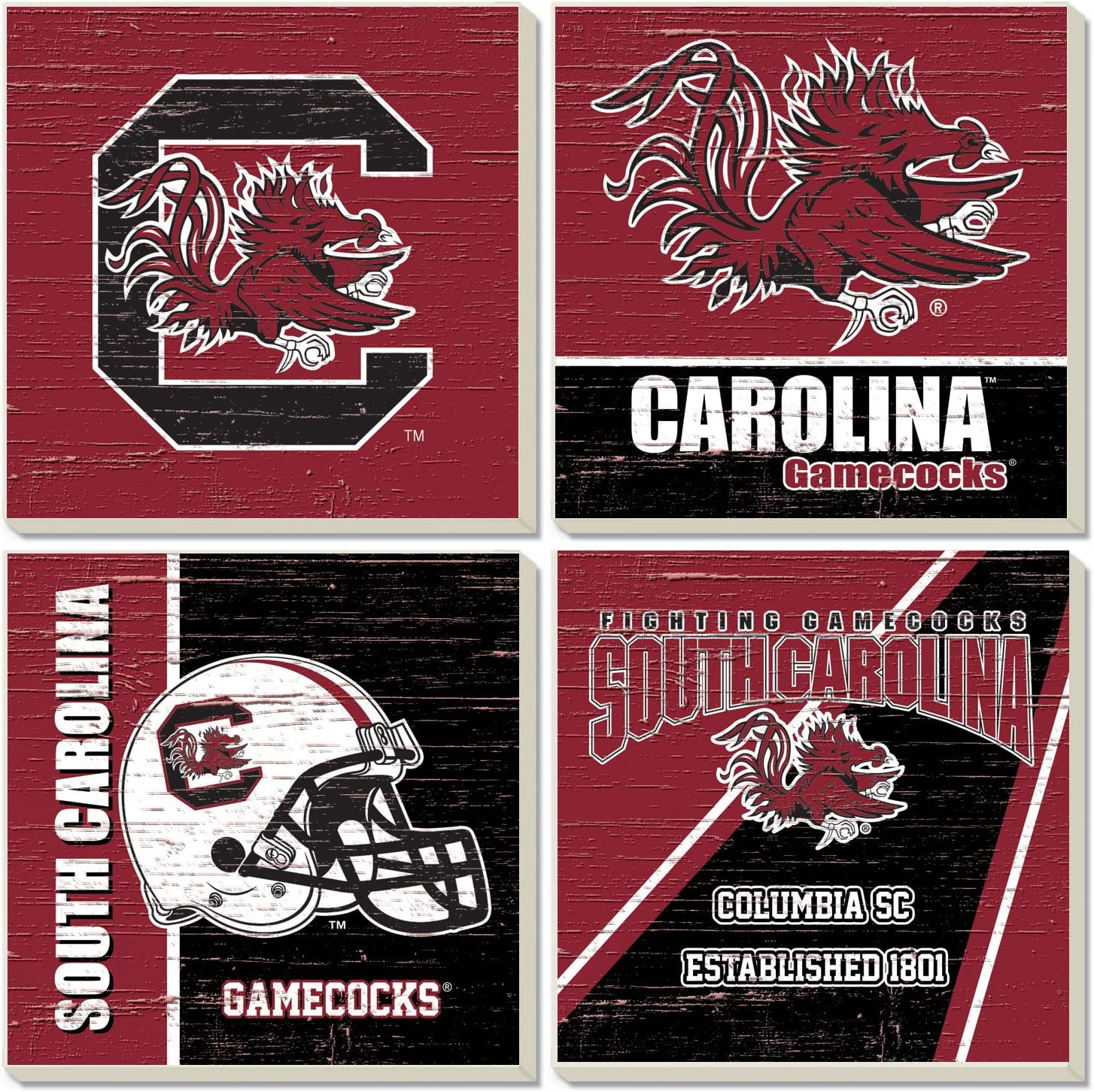 Amazon Com Square Collegiate Coasters Set Of 4 South Carolina Kitchen Dining