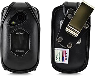 Turtleback Fitted Case for Kyocera DuraXV LTE Verizon Flip Phone Black Leather with Heavy Duty Ratcheting, Removable Metal Belt Clip Holster FITS ONLY Kyocera DuraXV LTE E4610 Mil Spec 810G PTT