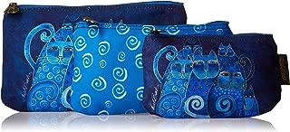 Laurel Burch Cosmetic Bag, Indigo Cats, Set of 3