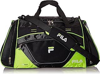 Fila Bolsa esportiva grande Acer, Bolsa esportiva Acer de 25 polegadas, Preto/verde neon, One Size