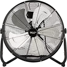 Comfort Zone CZHV20S High-Velocity Industrial 3-Speed Black Slim-Profile Drum Fan with Aluminum Blades and Adjustable Tilt – 20""