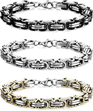 FIBO STEEL 2 Pcs 8MM Stainless Steel Chain Link Bracelets for Men Byzantine Bracelets,8.0-9.1 inches
