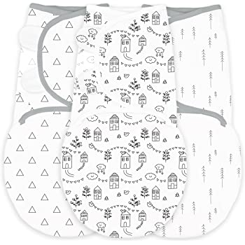 Amazing Baby Swaddle Blanket with Adjustable Wrap, Set of 3, Little Village, Trees and Triangles, Black, Small