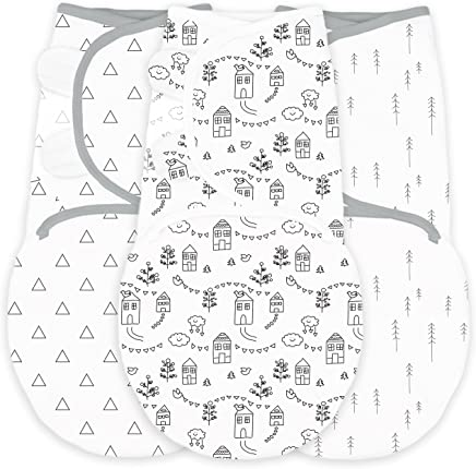 featured product Amazing Baby Swaddle Blanket with Adjustable Wrap,  Set of 3,  Little Village,  Trees and Triangles,  Black,  Small