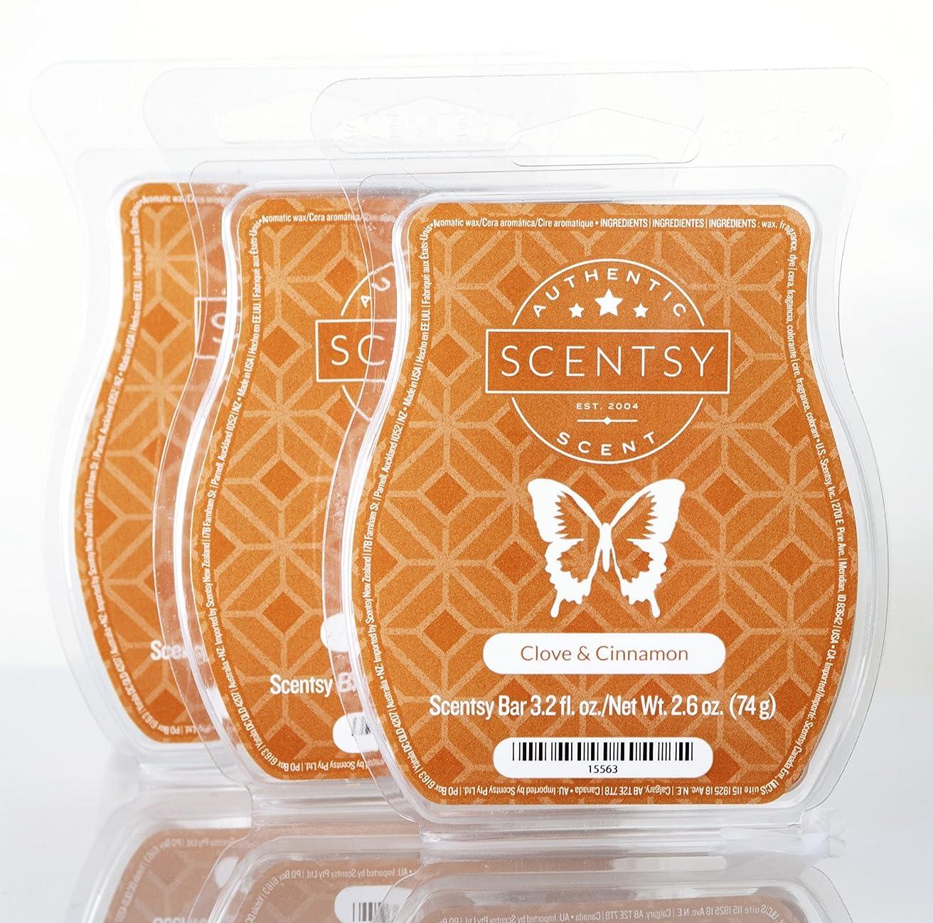 特権硬化するボックスScentsyクローブ&シナモン3パックバー