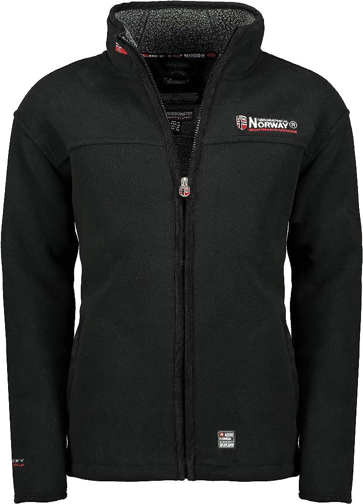 Geographical norway, giacca in pile ureka da uomo, con calda fodera, in pelliccia HA604095