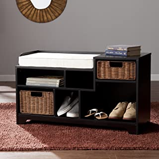 Southern Enterprises Wixshire Asymmetrical Storage Bench with Rattan Baskets, Black, Caramel and Ivory Finish