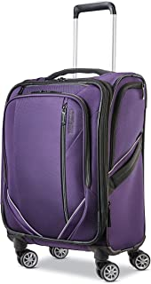 American Tourister Zoom Turbo Softside Expandable Spinner Wheel Luggage, Purple, Carry-On 20-Inch