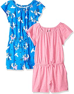Amazon Brand - Spotted Zebra Girl's Toddler & Kid's 2-pack Knit Ruffle Top Rompers