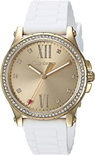 Juicy Couture Women's Hollywood Quartz Watch with Rubber Strap, White, 20 (Model: 1901616)