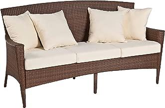 Panama Jack PJO-7001-ATQ-SF Key Biscayne Woven Sofa with Cushions, Light Beige