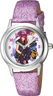 DISNEY Girls Descendants 2 Stainless Steel Analog-Quartz Watch with Leather-Synthetic Strap, Purple, 15 (Model: WDS000247)